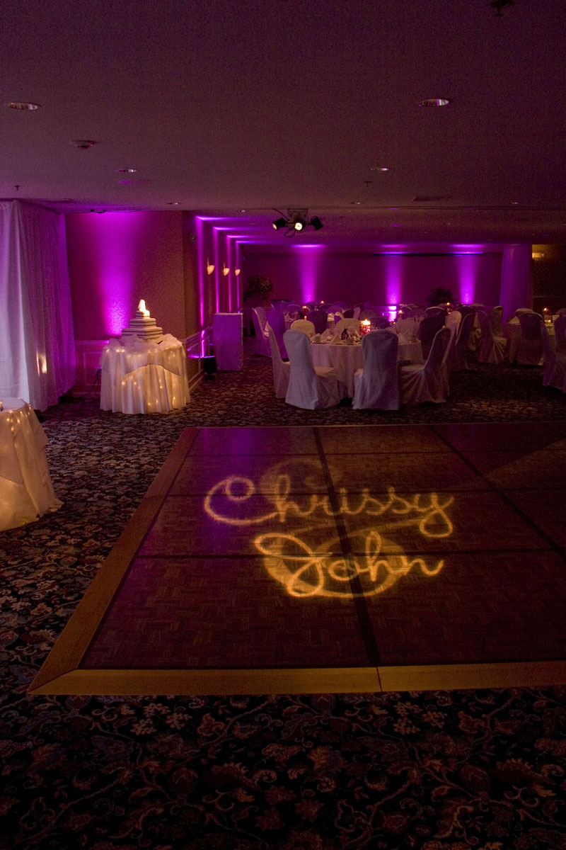 Monogram Gobo with Uplighting and Cake Pinspotting